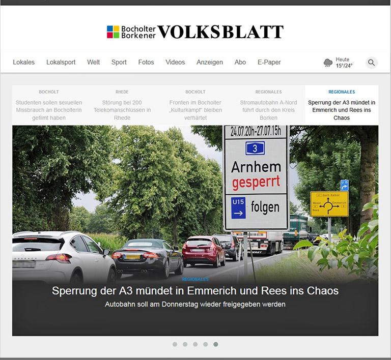 Das Bocholter-Borkener Volksblatt bezieht seinen Mantel ab 2019 wieder von der RP. Illustration: Screenshot