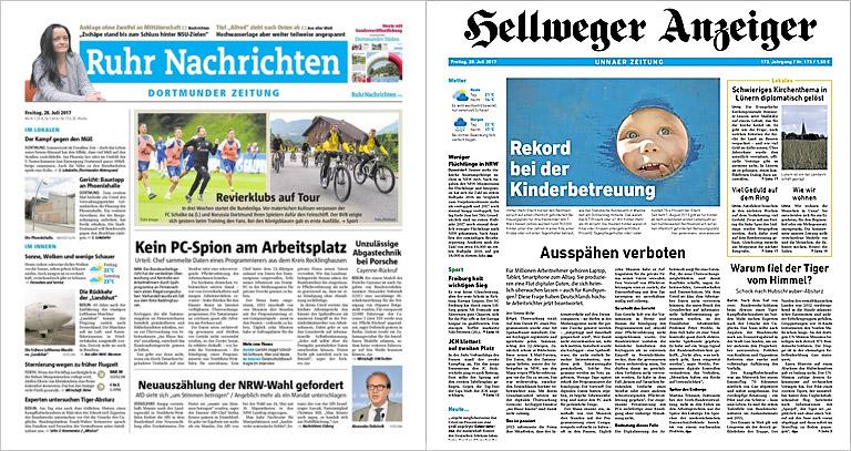 Noch bieten Ruhr Nachrichten und Hellweger Anzeiger unterschiedliche Mantelinhalte. Illustrationen: Screenshots