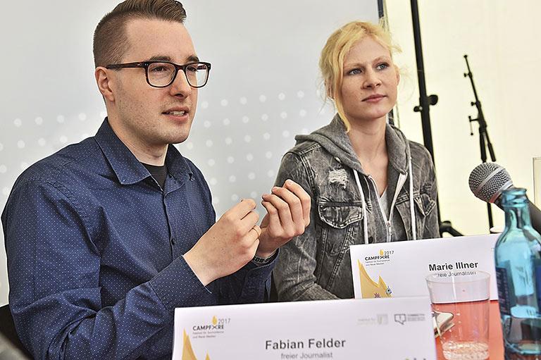 Im zweiten Workshop erzählten Fabian Felder und Marie Illner, was sie am Beruf nervt. | Foto: Arne Pöhnert