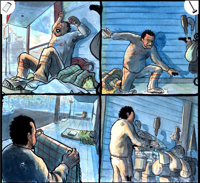 Die Reportage von Augusto Paim und Bruno Ortiz über Obdachlosigkeit erzählt in farbigen Bildern ohne Text. Zusätzliche Informationen lassen sich auf der Originalseite über die Icons links und rechts oben anklicken. | www.cartoonmovement.com/comic