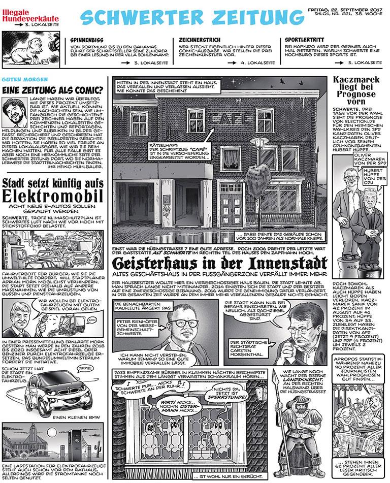 Vom Kopf über die hochwertigen Zeichnungen bis zu den kurzen Texten ist alles von Hand gefertigt: Der Schwerter Lokalteil der Ruhr-Nachrichten-Ausgabe erschien am 22. September komplett als Comic. | Ruhr Nachrichten