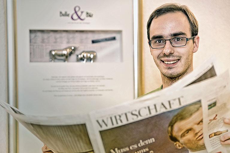 Das Semester Wirtschaftsjournalismus ist bei vielen unbeliebt, stellt Student Leon Hohmann fest. | Foto: Arne Pöhnert