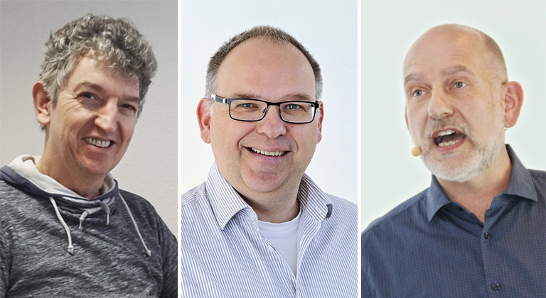 Als Betriebsräte engagiert (v.l.): Martin Weide-Drees, Oliver König und Bert Grickschat. | Fotos: privat, Bernhard Preuß, privat