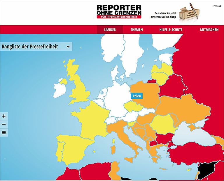 Der Ausriss aus der Karte von Reporter ohne Grenzen zeigt: Auch in Europa leidet die Pressefreiheit, wird Journalismus gefährlicher. | Screenshot reporter-ohne-grenzen.de