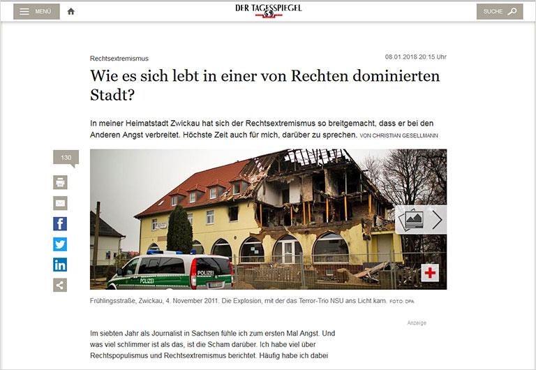Wie zermürbend das Journalistenleben unter ständiger Bedrohung von rechts ist, erzählte Christian Gsellmann Anfang Januar im Tagesspiegel. | Screenshot tagessspiegel.de