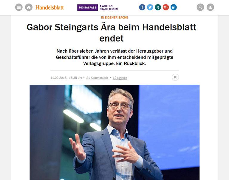 Das Handelsblatt bezog selbst Stellung zu Gabor Steingarts Weggang. | screenshot