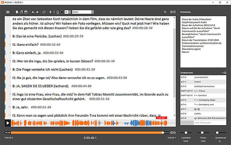 f4 Transkript: Audiospur und Textdatei auf einer Seite. | Screenshot f4/f5transkript