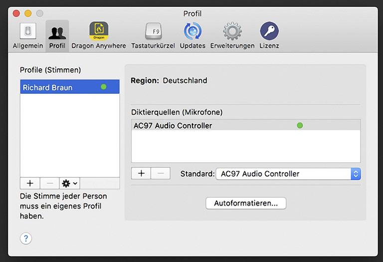 Individuelle Sprecherprofile lassen sich bei Dragon anlegen – auch für andere Sprachen. | Screenshot Dragon