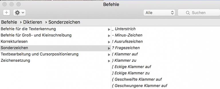 Übersicht der Befehle: Satzzeichen müssen bei jeder Spracherkennungssoftware diktiert werden. | Screenshot Dragon