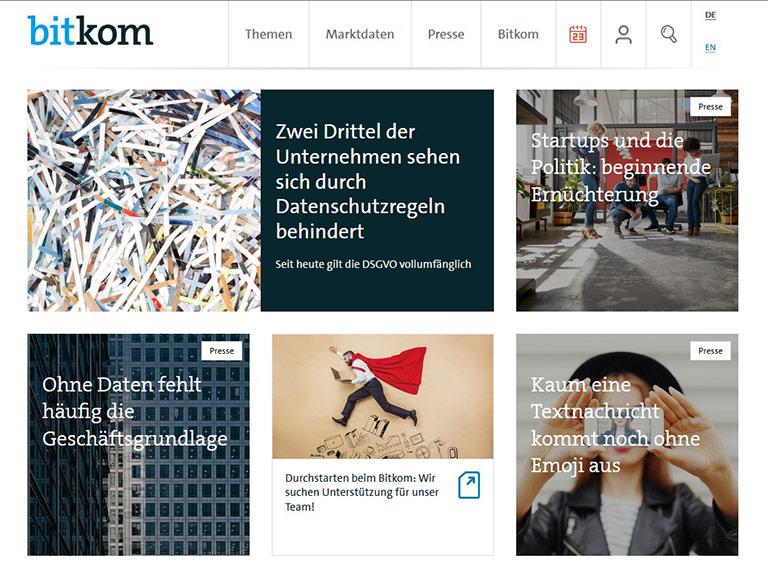 Verbände wie Bitkom machen ihre Pressearbeit über verschiedene Kanäle für jederman zugänglich. | screenshot