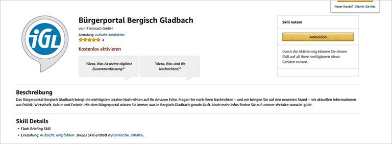 Abonnieren kann man die Skills auch über die Amazon-Seite (hier am Beispiel des Bürgerportals Bergisch Gladbach). | screenshot