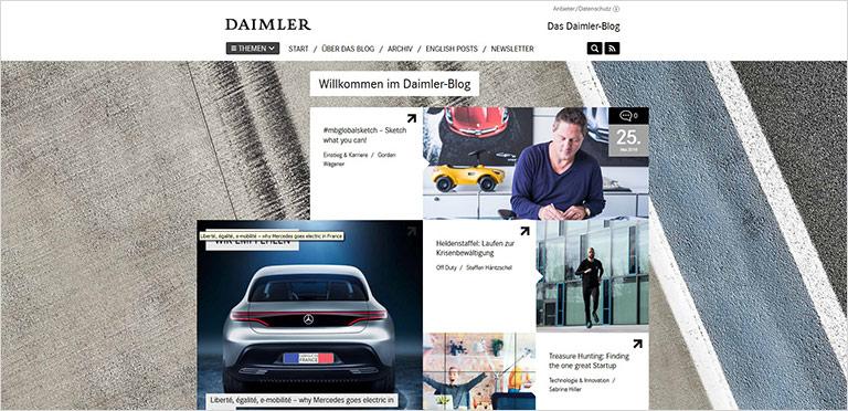 Daimler lässt unter anderem Blogbeiträge verlesen – und bietet so Barrierefreiheit. | screenshot