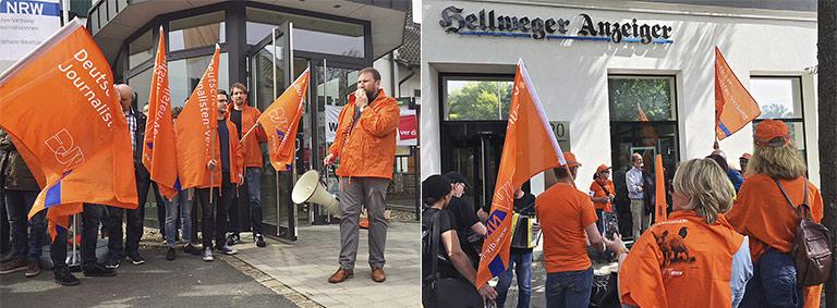 Links: Landesgeschäftsführer Volkmar Kah (r.) spricht bei der Streikversammlung in Schwerte. Rechts: Bei der Veranstaltung in Unna am 22. Mai machten die Streikenden Station am Hellweger Anzeiger. Bild unten: Rebellische Mittagspause in Aachen. | Foto: Christian Weihe, Beate Krämer