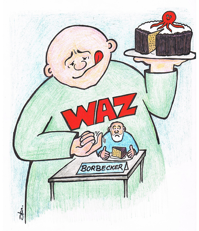 Über den Kampf um die Unabhängigkeit der Bobecker Nachrichten hat das JOURNAL 1998 und 2000 berichtet. | Karikatur Karlheinz Stannies