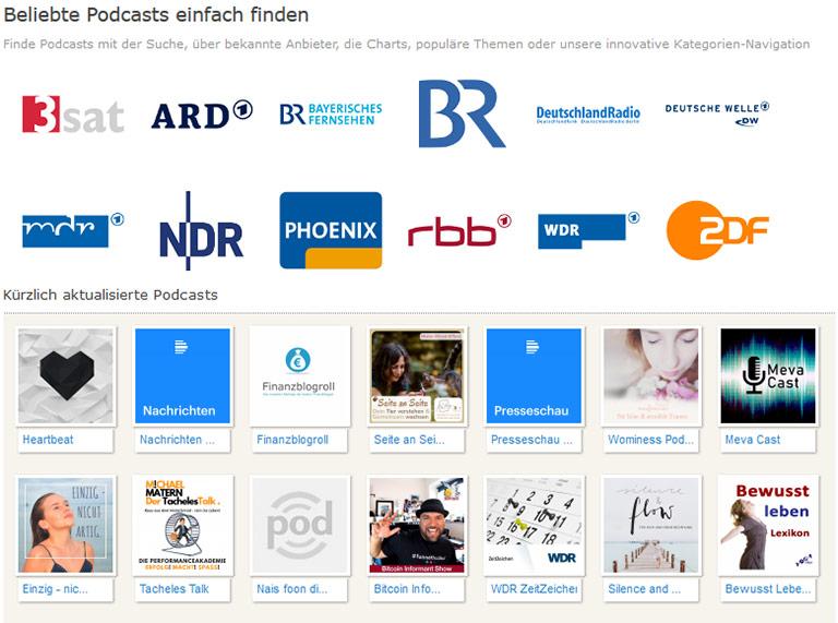 Bunte Mischung: Auf der Seite podcast.de steht die Bitcoin-Info neben dem WDR Zeitzeichen. | Illustration: Screenshot