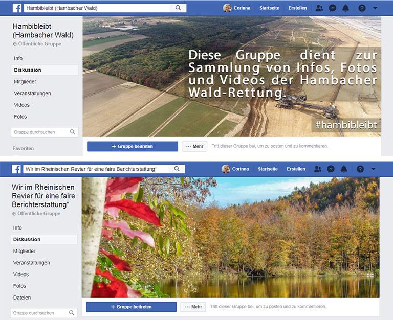 Vorwurf der Einseitigkeit an die Medien: Zum Thema Hambacher Forst informieren Gegner und Befürworter des Tagebaus in eigenen Facebook-Gruppen. | Screenshots Facebook.