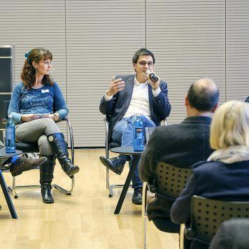 Im Forum zur Medienpolitik diskutieren Tobias Schmid, Sascha Fobbe, Alexander Vogt und Nathanael Liminski (v.l.). | Foto: Alexander Schneider