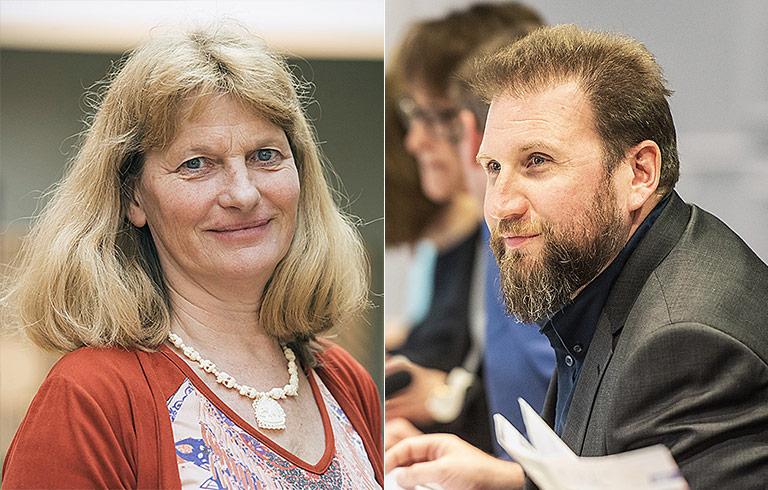 Barbara Merten-Kemper ist WAZ-Betriebsrätin und stellvertretende Vorsitzende des DJV-NRW, Volkmar Kah ist der Geschäftsführer des Landesverbands.   Fotos: Arne Pöhnert