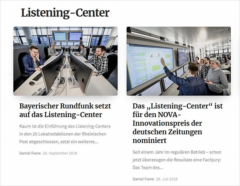 Die Rheinische Post lotet die Möglichkeiten im Onlinebereich konsequent aus, unter anderem mit dem Listening Center, das auch als Dienstleitung für andere Medien angeboten wird. | Screenshot zeitgeist.rp-online.de