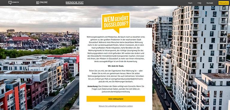 Wem gehört Düsseldorf? Das untersuchen correctiv.lokal und Rheinische Post gemeinsam – mit Hilfe der Mieterinnen und Mieter. | Screenshot
