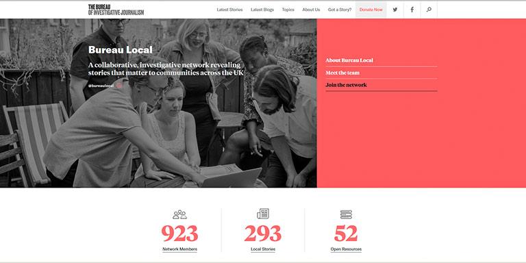 Das britische Projekt Bureau Local ist ein Vorbild für correctiv.lokal | Screenshot