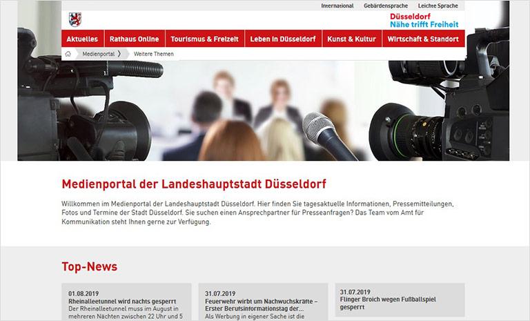 Im Medienportal der Landeshauptstadt finden Interessierte Presseinformationen, tagesaktuelle Informtionen, Fotos und Termine. | Screenshot duesseldorf.de