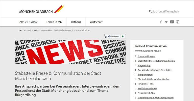 Pressedienst und Bürgerdialog bietet die Stadt Mönchengladbach in ihrem digitalen Newsroom. | Screenshot moenchengladbach.de