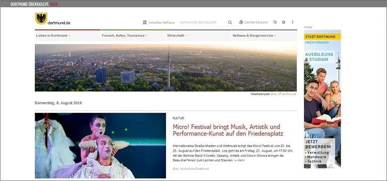 Stadtseiten wie dortmund.de reagieren auf das gewachsene Interesse breiterer Zielgruppen. | Screenshot dortmund.de