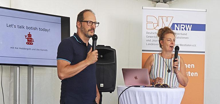 Ute Korinth und Kai Heddergott gaben einen kompakten Einblick in das Thema Künstliche Intelligenz. | Foto: Corinna Bllümel