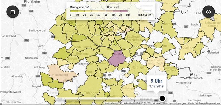 Die Projekte der Stuttgarter Zeitung: Die Feinstaubkarte (Bild links) verrät, wie hoch die Feinstaubbelastung in welchen Stadtteilen ist und wo die Grenzwerte überschritten werden. | Screenshots: www.stuttgarter-zeitung.de