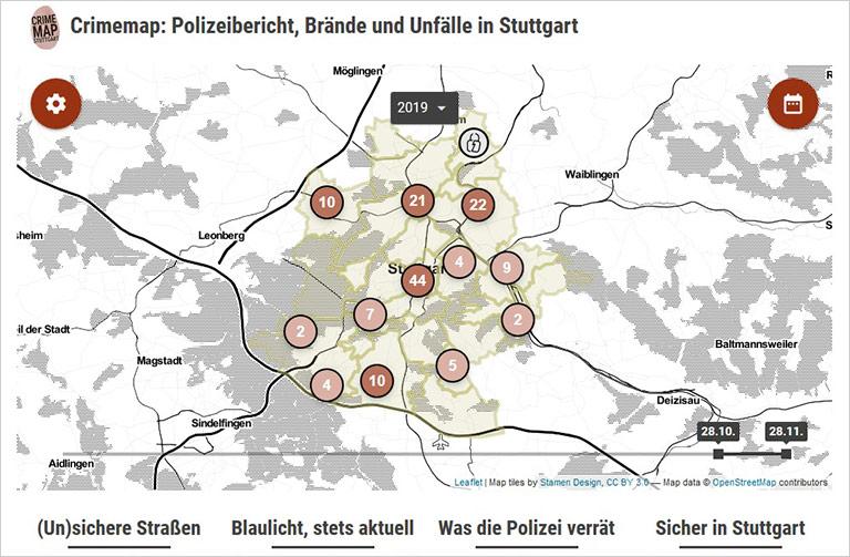 Auf der Crimemap sammelt die Tageszeitung alle Blaulicht-Informationen für die Stadt. Screenshots: www.stuttgarter-zeitung.de