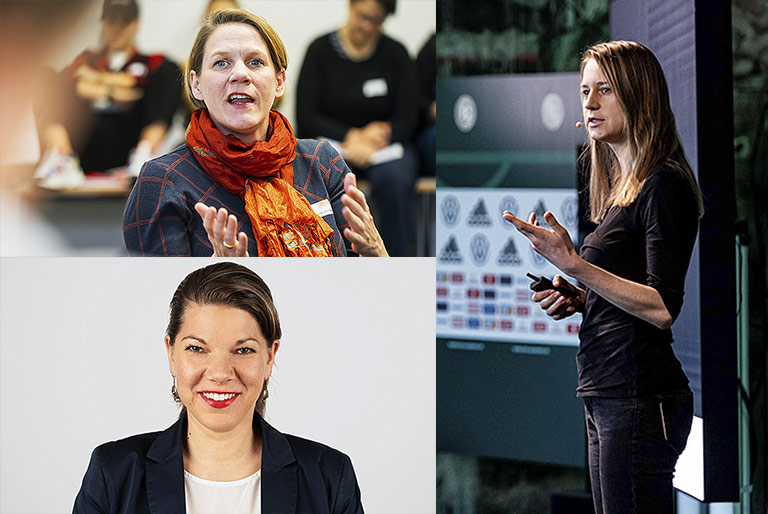Die Expertinnen Wiebke Möhring (o.l.), Tabea Grzeszyk (u.l.) und Maren Urner (u.r.). | Fotos: Udo Geisler, fotostudioneukoelln.de, Alexander Scheuber