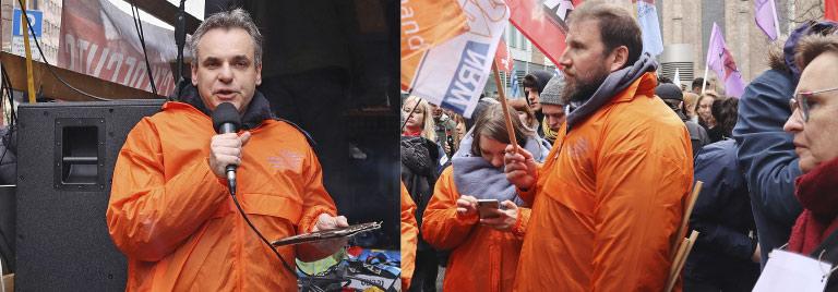 Ein Zeichen für Meinungs- und Kunstfreiheit: Frank Überall (Bild l.) und Volkmar Kah bei der Kundgebung Anfang Januar in Köln. | Fotos: Corinna Blümel