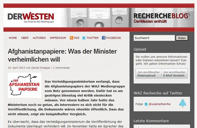 Das WAZ-Rechercheblog.veröffentlichte nicht nur die Papiere, sondern arbeitete alles journalistisch auf. | Screenshot