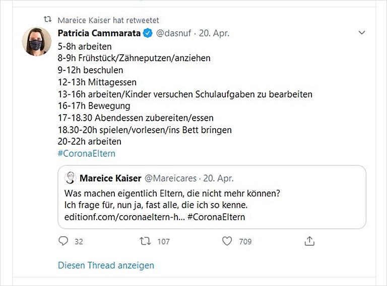 Soziale Medien als Pulsmesser fürdie Stimmung in der Gesellschaft: Auf Twitter war der Ärger der Eltern früh zu spüren. | Screenshot
