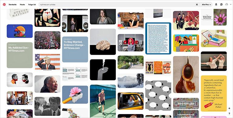 Auch journalistische und literarische Inhalte finden sich auf Pinterest. | Screenshot