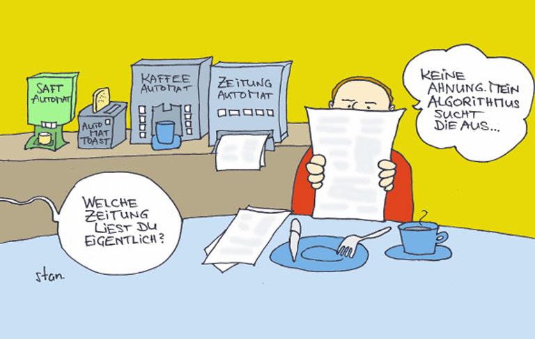 Karikatur: VOM SUCHER ZUM AUSSUCHER