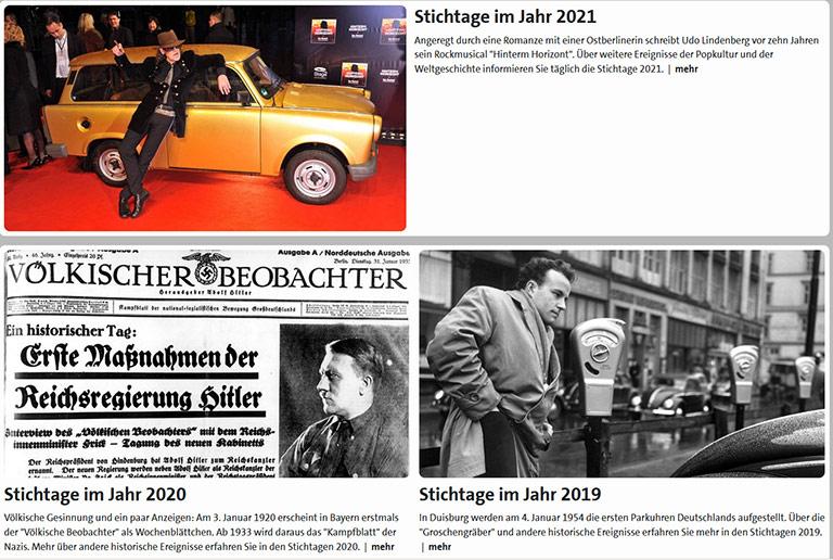 Ob Popkultur, Drittes Reich oder die erste Parkuhr in Duisburg: Der Stichtag widmet sich sehr unterschiedlichen Themen. | Screenshot