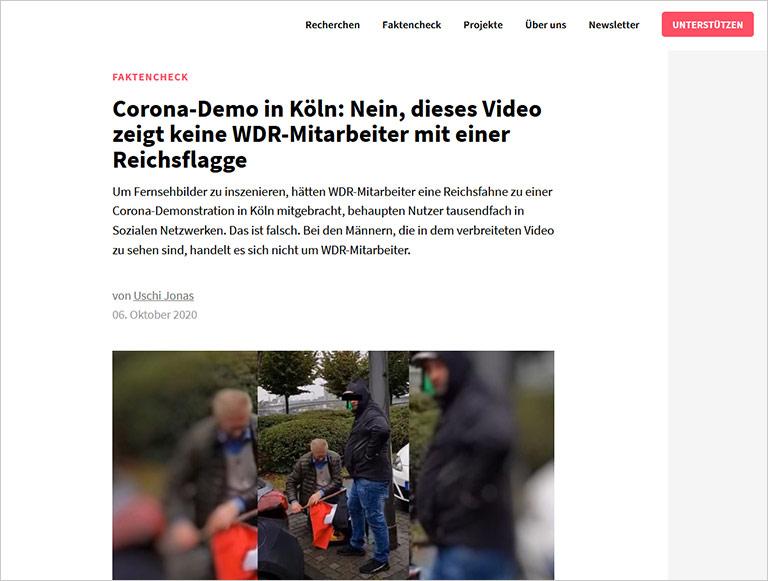 Beispiel für einen Faktencheck: In sozialen Medien kursierte die Behauptung, Journalisten hätten Bilder mit mitgebrachten Reichsflaggen inszeniert. | Screenshot correctiv.org