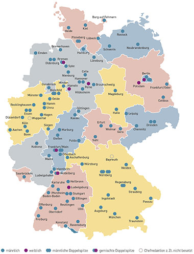 Die Deutschlandkarte zeigt die 100 von ProQuote Medien gezählten Regionalzeitungen und das Geschlecht ihrer jeweiligen Chefredakteure oder Chefredakteurinnen. Stand: Frühjahr 2019. | Deutschlandkarte: ProQuote Medien/Annette Filitz
