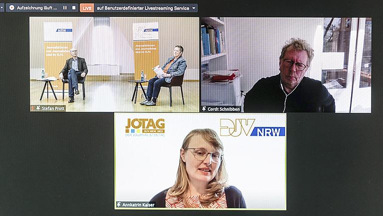 Panel Medienbildung mit Kay Bandermann und Ulrike Kaiser (o.l.), Cordt Schnibben und Annkatrin Kaiser. |Foto: Udo Geisler