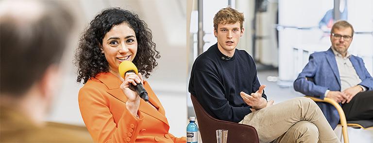 Über Diversität in Redaktionen diskutierte Moderator Johannes Meyer mit Najima El Moussaoui (Bild l.), Nils Hagemann und Steffen Grimberg (Bild r., v.l.). |Foto: Udo Geisler