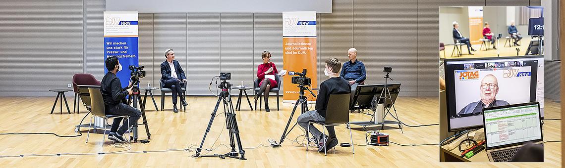 Die Chancen in der Krise diskutierten (hinten v.l.) Frank Überall, Katrin Kroemer und Götz Grommek sowie digital zugeschaltet Ruprecht Polenz (r.). |Foto: Udo Geisler