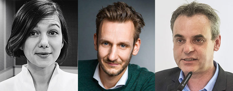 Dr. Katja Artsiomenka, Benjamin Piel und Prof. Dr. Frank Überall. |Fotos: Fahri Sarimese, privat, Arne Pöhnert