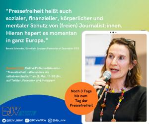 Renate Schröder, Direktorin der European Federation of Journalists (EFJ), zum Tag der Pressefreiheit