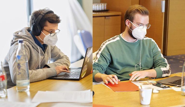 Konzentrierte Arbeit im Hintergrund: Oskar Vitlif (l.) und Florian Gregorczyk bildeten die Zählkommission.   Foto: Alexander Schneider