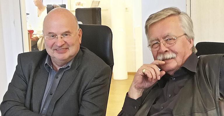 Die ehemaligen Vorsitzenden Michael Kroemer (r.) und Gregor Spohr im Herbst 2017 beim Roundtable-Gespräch zu 50 Jahren JOURNAL. | Foto: Carmen Molitor