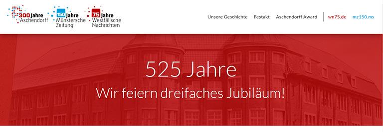 Die drei Jubiläen der Unternehmensgruppe Aschendorff in Münster addieren sich auch 525 Jahre. | Screenshot