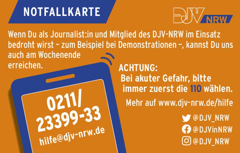 Bei Bedrohungen finden Mitglieder des DJV-NRW auch am Wochenende Hilfe und Unterstützung.